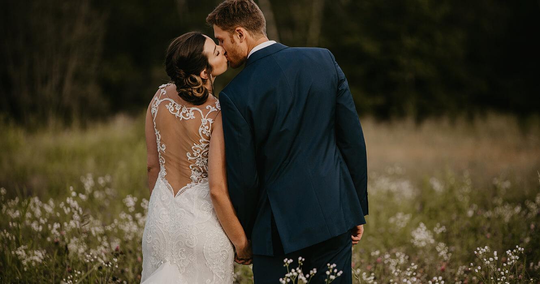Bride & Groom share a kiss at Wedding Venue, Scarborough, Maine