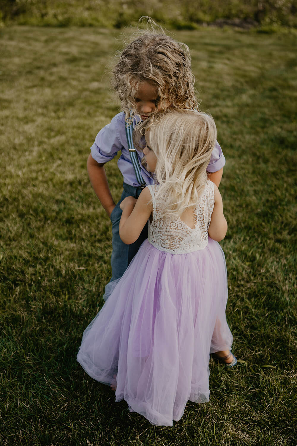 Children dancing on the lawn at wedding venue, Scarborough, Maine