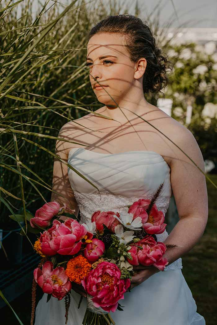 bride with flowers at wedding
